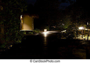 Lamp on wood path over river and through tropical forest