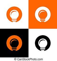 Lamp or light bulb logo template, creative idea icon concept - Vector