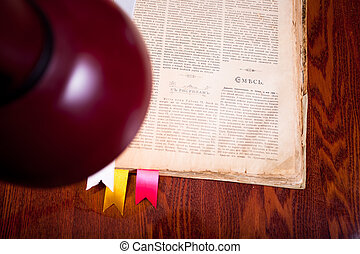Lamp over old book on the table