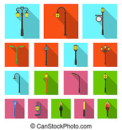 Lamp post flat icons in set collection for design. Lantern and lighting bitmap symbol stock web illustration.