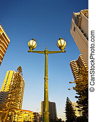 Lamp post In a City - A lamp post surrounded by skyscrapers ...