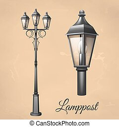 Lamp Post Set - Retro vintage lamp post set with electricity...