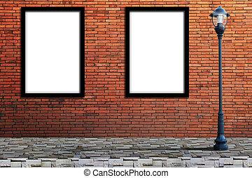 Lamp post street and blank billboard on brick wall