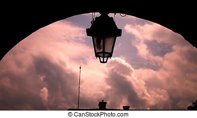Lamp Post Sunset Back Lit Silhouette - Lamp post sunset back...