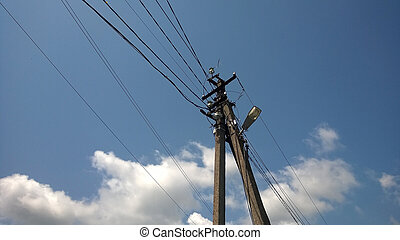 Lamp post with electro wires