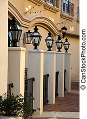 Lamp posts in a row