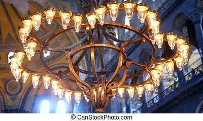 Lamp religion church - Lamp with a burning candle dark
