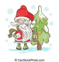 LAMP SANTA Merry Christmas Cartoon Vector Illustration Set