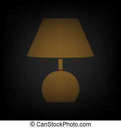 Lamp sign illustration. Icon as grid of small orange light bulb in darkness. Illustration.