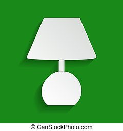 Lamp sign illustration. Vector. Paper whitish icon with soft shadow on green background.