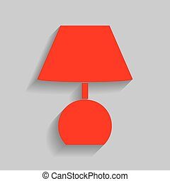 Lamp sign illustration. Vector. Red icon with soft shadow on gray background.