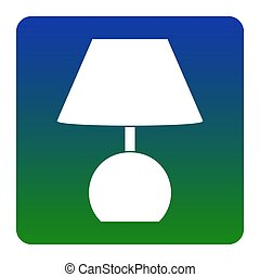 Lamp sign illustration. Vector. White icon at green-blue gradient square with rounded corners on white background. Isolated.
