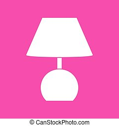 Lamp sign illustration. White icon at magenta background.