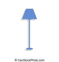 Lamp simple sign. Vector. Neon blue icon with cyclamen polka dot