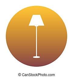 Lamp simple sign. White icon in circle with golden gradient as b
