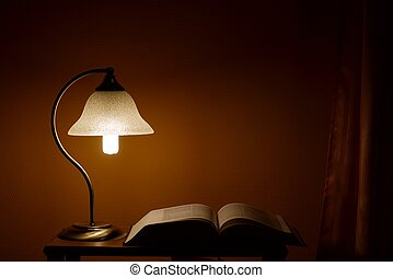 Lamp in the night with an open book