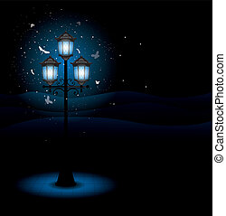 lamp, straat, oud, nacht