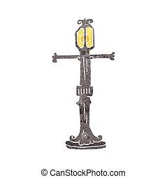 lamp, straat, retro, spotprent