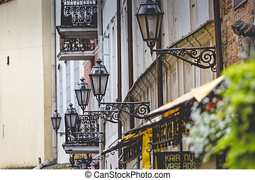 Lamp-street in the narrow street in Riga, Latvia.