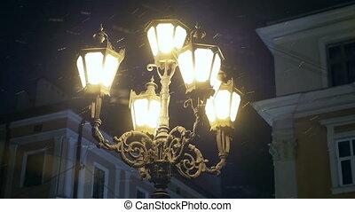 Lamp street old winter - Falling snow old street town lamp