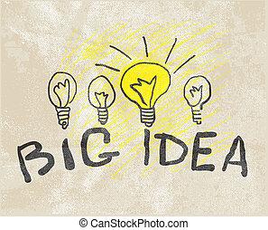 lamp., vernieuwend, idee, groot