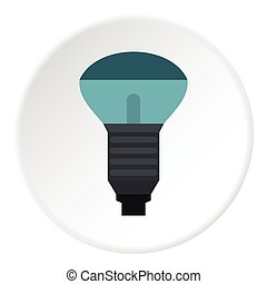 Lamp with blue light icon, flat style - Lamp with blue light...