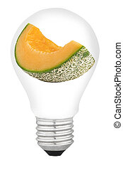 lamp with fruit on white background