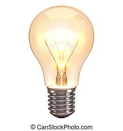 lampa, bränna, vit fond