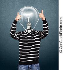 lampa, głowa, człowiek, w, pasiasty, pulower
