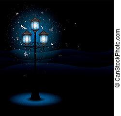 lampa, gata, gammal, natt