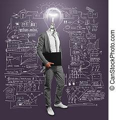 lampa, hlavička, obchodník, s, počítač na klín