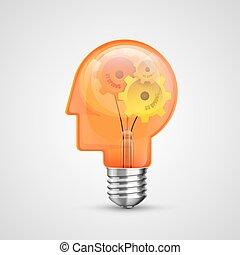 lampa, pojęcie, głowa, idea, twórczy