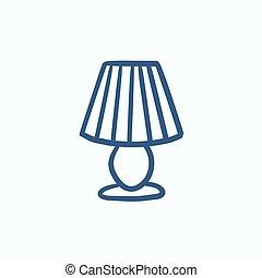 lampa, rys, icon., stół