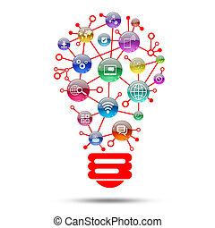 lampada, apps, consistere, icone