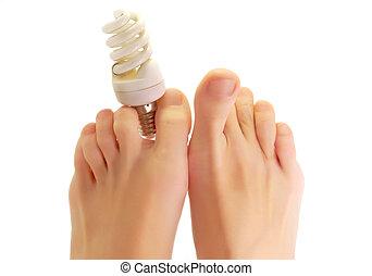lampada, dita, piede, fluorescente
