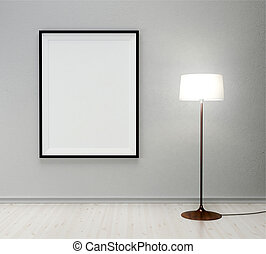 lampada, e, cornice