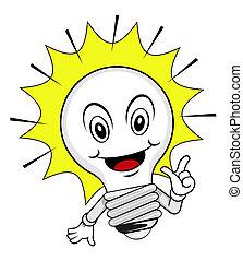 lampada, idea, cartone animato
