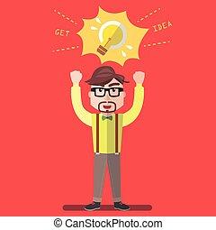 lampada, idea, uomo affari