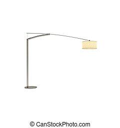 lampada pavimento, isolato, interpretazione, fondo, bianco, 3d