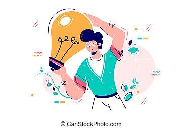 lampada, presa a terra, bulbo, uomo, idea