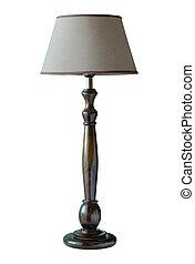 lampada, ritaglio, tavola, isolato, percorso, fondo, bianco