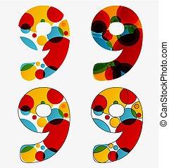 lampada, set, 9, astratto, -, isolato, lava, numero, colori, nove, 4, disegnato, vivido
