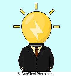 lampada, testa, idea