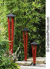 lampade, giardino giapponese