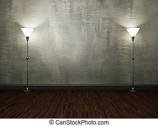 lampade, parete, cemento