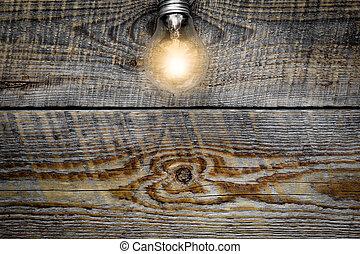 lampadina, ardendo, su, legno, fondo