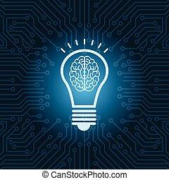 lampadina, con, cervello, dentro, icona, sopra, blu, circuito, scheda madre, fondo