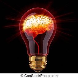 lampadina, con, lucente, cervello, dentro