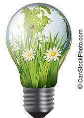 lampadina, con, verde, mondo, dentro