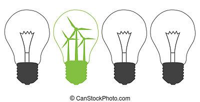lampadina, e, mulino vento, generatore, interno., energia...